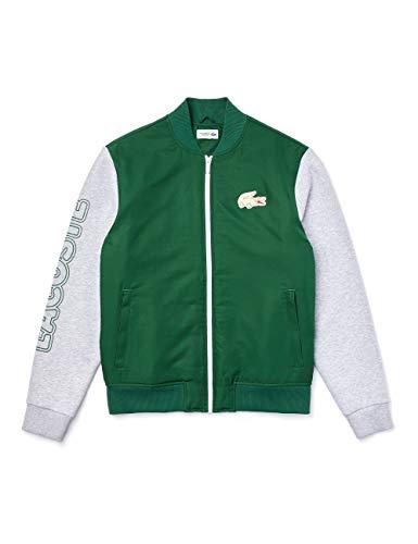 Lacoste Herren BH1553 Sweatjacke, Pullover Pulli Oberteil Langarm Reißverschluss Logo Krokodil sportlich,Green/Silver Chine-White (GY4),58 (58)