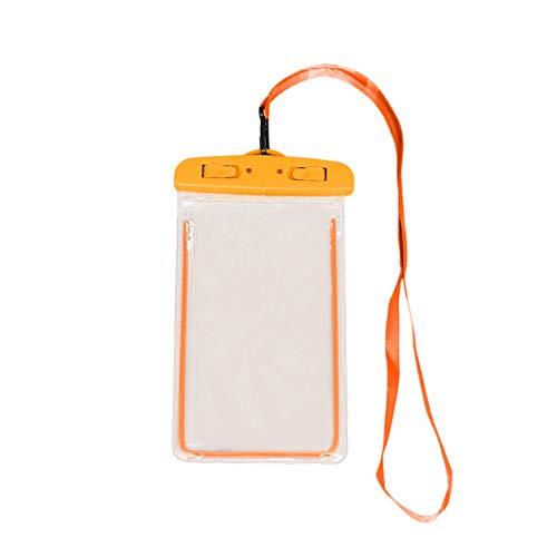 Custodia per Cellulare Impermeabile per Esterni Custodia per Cellulare Universale Luminosa con Tracolla per Nuoto, Surf, Pesca, Canottaggio - Arancione