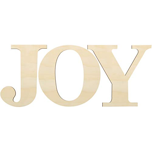 3 Pieces 12 Inch Wooden Large Joy Letter Home Sign Christmas Wooden Letter for Home Wall Decoration (Natural Color)