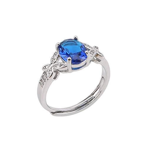 #N/A Anillo de cristal azul anillo de mariposa lindo anillo de circonita cúbica ajustable mujeres anillo joyería para boda fiesta