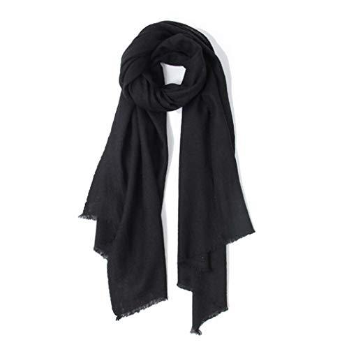 SUFLANG grote effen kleur Yak sjaal Wrap sjaal 194CM X 70CM Zwart