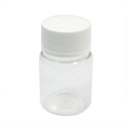 PULABO Kunststoff Leere zylindrische 60ml chemische Flasche Medizin Flasche Reagenz Flasche kleine Flüssigkeitsbehälter mit Kappen für Reisen und zu Hause transparent praktisch Gute Quali