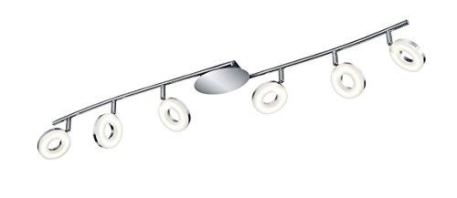 Reality Leuchten Deckenspot/Deckenleuchte, 6x 4 W SMD-LED inklusive, 1x Gelenk, Länge 102 cm, Höhe 15,5 cm, chrom R82416106