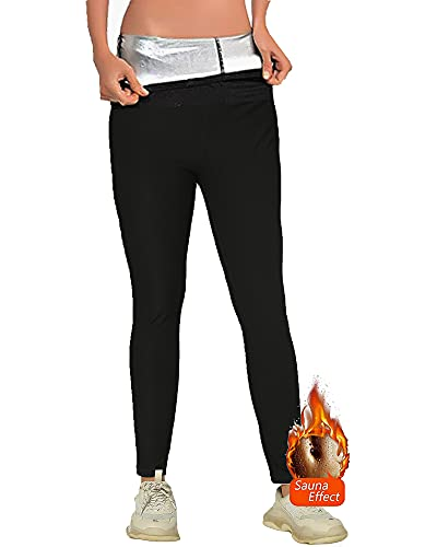 FITTOO Pantalones Sauna Reductora Adelgazante Deportivos Mujer Yoga Alta Cintura para Fitness Plata XL