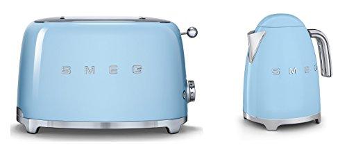 Smeg TSF01PBUK KLF01PBUK | 50er Jahre Retro Stil 2 Scheiben Toaster & Wasserkocher Set in Pastellblau