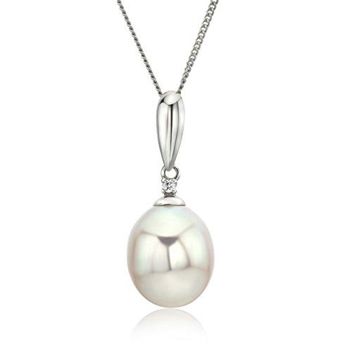 Miore Kette - Halskette Damen Kette Weißgold 9 Karat / 375 Gold Süßwasserperle mit Diamant Brilliant 45 cm