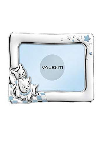 Marco de fotos para niño azul celeste plateado laminado diseño gato tamaño 17 x 13 regalo bautizo Valenti 73113/3C