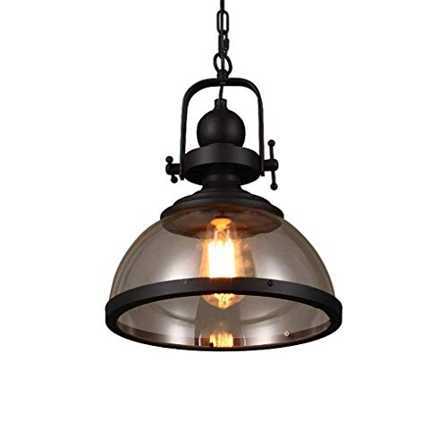 Faus Koco E27 Edison Retro Pendant Lamp Industrial Vintage Hanging Lamp Round Glass Lampshade Iron Hanging Lamp Simple Nostalgia Loft Stair Lamp Max 60W (Black)