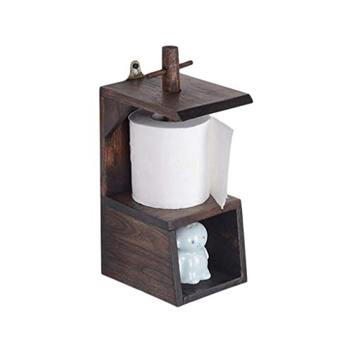 HAO SHOP WC-WC-wandhouder, wandplank van hout, met ladeontwerp, aanrecht of wandmontage, Thais teak, 15×11×24 cm