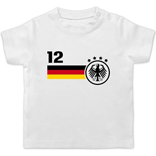 Fussball EM 2021 Fanartikel Baby - 12. Mann Deutschland Mannschaft EM - 3/6 Monate - Weiß - wm Baby - BZ02 - Baby T-Shirt Kurzarm