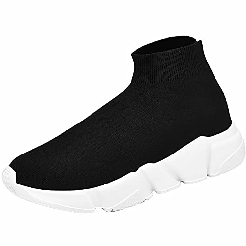 Puparlo Mens Walking Shoes,Fashion Ultralight Socks Shoes Breathable Foam Sole Athletic Sneakers (Color : Black, Size : 45)