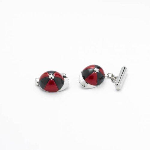 Étui tendance pour homme en forme de boutons de manchettes dans une boîte-cadeau Motif JOCKEY CAP/Noir et rouge-Cadeau de Noël Parfaite