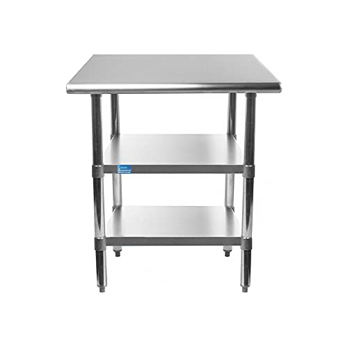 Stainless Steel Table with 2 Shelves + Optional Casters   Choose from 43 Sizes   NSF Metal Work Table for Kitchen Prep Utility   Commercial and Residential Applications