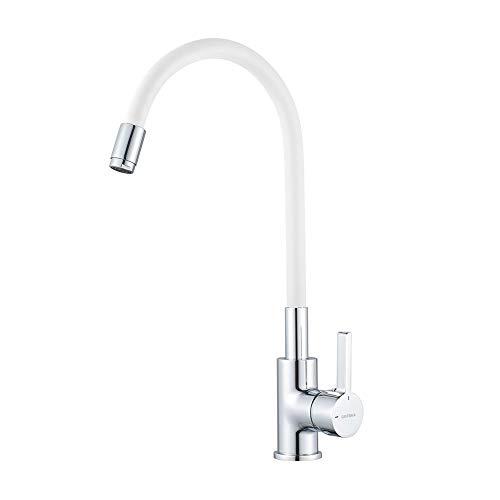 GRIFEMA G4002-3 Keukenkraan flexibel, Wit/Zilver