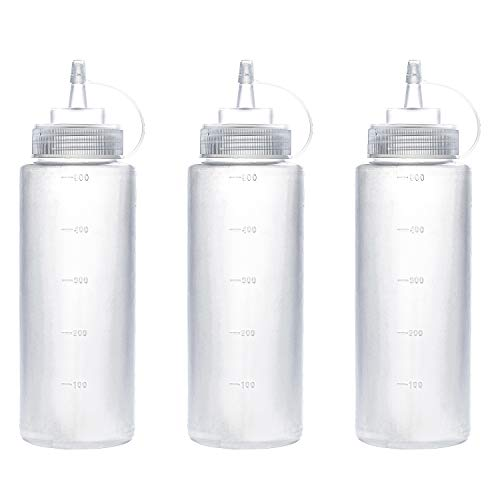 THETIS Homes (3 pack) 16 oz Plastic Squeeze Squirt Condiment Bottles with Twist On Cap Lids - Perfect For Syrup, Sauce, Ketchup, BBQ, Condiments, Dressing, Arts and Craft, Workshop, Storage, and More