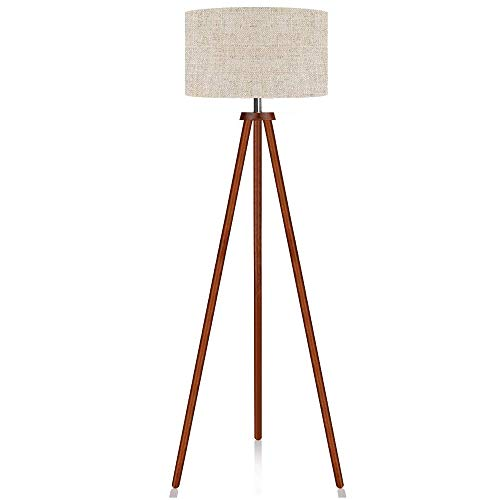 LEPOWER Wood Tripod Floor Lamp, Mid Century Standing Lamp, Flaxen Lamp Shade with E26 Lamp Base, Modern Design Floor Reading Lamp for Living Room Bedroom, Study Room and Office