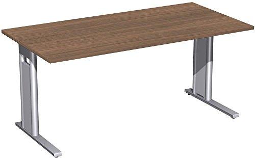 Schreibtisch starr, C Fuß Blende optional, 1600x800x720, Nussbaum/Silber, Geramöbel