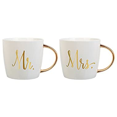 Slant Set of 2 14 Oz Ceramic Coffee Mugs - Mr & Mrs