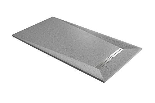 Piatto doccia ultraslim mod. Prisma 80 x 140 compresa piletta da 31.8 l/min (cemento)