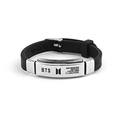 BTS Titanium Steel Silicone Bracelet Wristband Personalized Fashion Stainless Steel Jewelry Accessories (3 Pieces Shipped Randomly)