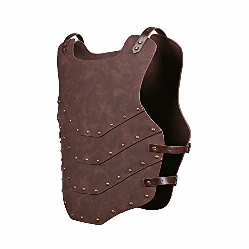 HZMAN Viking Vest Leather Armor Adjustable Armor Venue for Men and Women for Party Cosplay Halloween Brown
