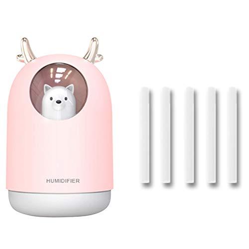 SNOWINSPRING Humidificador de Aire Humidificador UltrasóNico USB EléCtrico Nebulizador de Aerosol de Aromaterapia 300ML con Luz (Rosa)