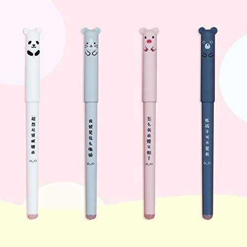 Radierbare Tintenroller, 4 Stück, Reibungsstifte mit Cartoon-Design, niedliches Schweine-Panda-Muster, löschbarer Gel-Stift, leicht zu reiben, für Kinder, Studenten, Erwachsene