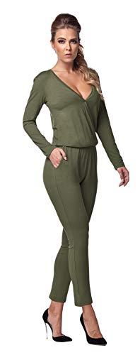 Lemoniade stylischer Jumpsuit Made in EU mit V-Ausschnitt und raffinierten Details, Khaki Langarm, Gr. L (38/40)
