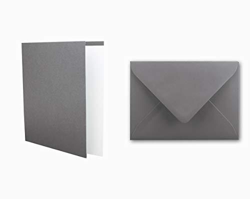 Einladungskarten inklusive Briefumschläge & Einlegeblätter - 25er-Set - Blanko Klapp-Karten in Graphit-Grau - bedruckbare Post-Karten in DIN B6 Format - speziell zum Selbstgestalten & Kreieren
