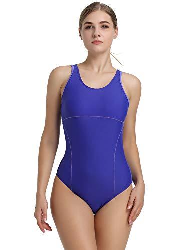 Womens Athletic Racerback One Piece Swimsuits Traning Racing Bathing Suit Sport Swimwear(Purple,Medium)