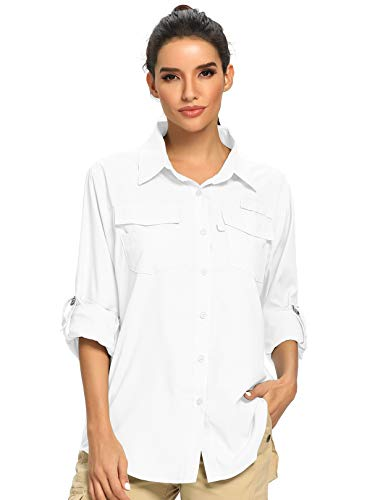 Women's Quick Dry Sun UV Protection Convertible Long Sleeve Shirts for Hiking Camping Fishing Sailing (5026 White, XX-Large)