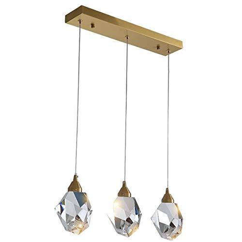 XLNB 3-licht Pendelleuchte Mit Kristallglas Lampenschirm Und Messingdecke, Moderne Decke Kristall Kronleuchter Für Loft, Bar Und Küche