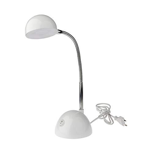 Emma ist eine weiße, kindgerechte Schreibtischlampe/Tischleuchte mit schwenkbarem Kopf und 350 Lumen starken LEDs, die ausreichend Lichtstärke auf den Schreibtisch bringen