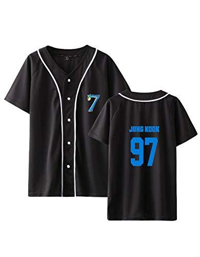BTS T-Shirts Damen, Teenager Mädchen Kpop BTS Map of The Soul 7 Tshirts Frauen Sommer 3D Druck Baseball Kurzarm T-Shirts Armee Suga Jimin Jin Jung Jook J-Hope Rap V Sport Oberteile Tops (C-Schwarz,L)