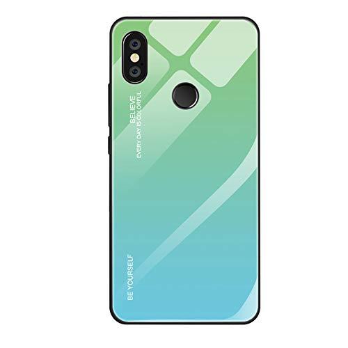 Alsoar - Funda compatible con Xiaomi Mi A2 Lite, carcasa completa del cuerpo, carcasa antigolpes de silicona ultra fina con carcasa trasera de cristal templado para Xiaomi Mi A2 Lite Verde cian.
