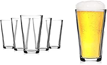Modvera Drinkware Beer Pint Glass 16 Ounce | Versatile Cocktail Shaker Beer Glass | Perfect for the Pub, Home Bar, or Everyday Use | Ultra Clear Strong Rim Tempered Mixing Beer Glass | Set of 6