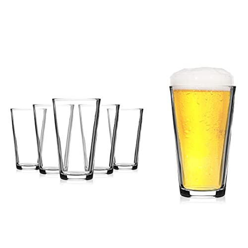 Modvera Drinkware Beer Pint Glass 16 Ounce   Set of 6