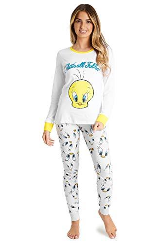 Looney Tunes Pijamas Mujer, Ropa Mujer 100% Algodon, Pijama Mujer Invierno 2 Piezas de Manga Larga Personaje Piolin, Regalos Mujer Chica Adolescente Talla S-XL (Blanco, M)