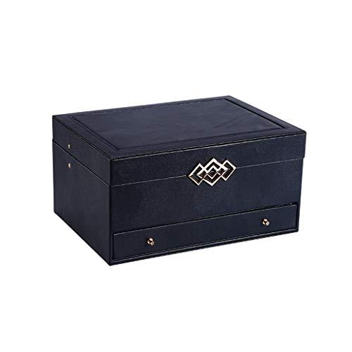 Cvthfyky Joyero organizador personalizado de gran capacidad para mujeres, caja de almacenamiento de joyas para pulseras, pendientes, anillos, collares (color negro)