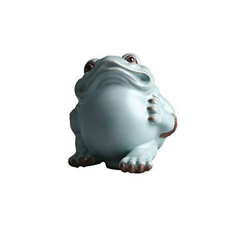hongbanlemp decoración del hogar Fine Ceramic Golden Toad Adornos Feng Shui Lucky Lucky Dorado Sapo Estatua Discotecas Mini Dinero Frog Decoración de Escritorio Escultura Feng Shui (Size : Medium)