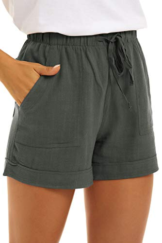 KINGFEN Women Shorts Comfy Drawstring Lounge Mid Length Elastic Waist Shorts for Summer Beach Casual Cotton Linen Pull On Short with Pockets Sage Green Medium
