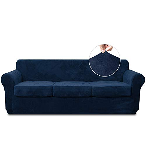 RHF Velvet Couch Cover 4 Piece Sofa Cover Sofa Slipcover-Couch Covers for 3 Cushion Couch,3 Separate Cushion Cover, Sofa Covers for 3 Cushion Couch,Couch Covers for Dogs(Large,Navy)