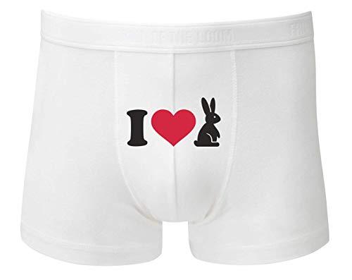 Druckerlebnis24 Boxershort - I Love Hase Osterhase - Unterhose für Herren und Männer