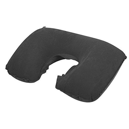 Spokey Aviate Reisekissen (mit Tasche Aufblasbar PVC Nackenstütze Flugzeug Auto Bus Schiff Zug + Up-Aufkleber), schwarz, M