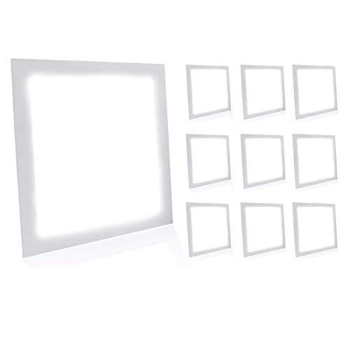 Kit 10 Painel Plafon Led 25W Quadrado Embutir - Branco Frio
