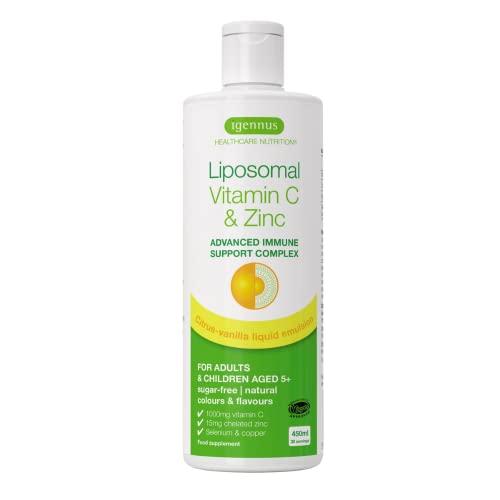 Vitamina C Liposomal Complex de 1000 mg con Zinc, cobre y selenio, complejo líquido de apoyo inmunológico para adultos y niños, sabor cítrico y vainilla, 30 porciones