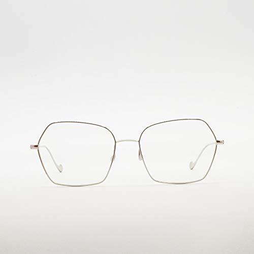Caroline Abram Paris - Occhiali da vista esagonali in metallo bicolore per donna - VOLCANE SILVER| RAME - 56/17/138mm, Silver