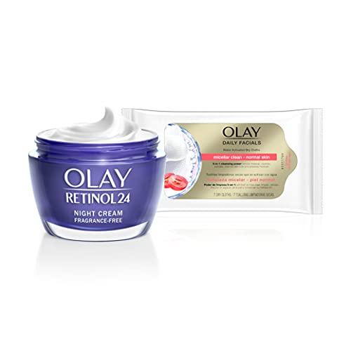 Olay Retinol 24 Crema de Noche 50ml + Daily Facials 5-en-1 Toallitas Limpiadoras 7uds