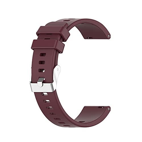 Fawyhr Correas de Reloj de Silicona, liberación rápida Reloj de reemplazo de Caucho Suave, Hebilla de Acero Inoxidable 20mm Correa de Silicona Universal para Reloj Inteligente. (Color : Wine Red)