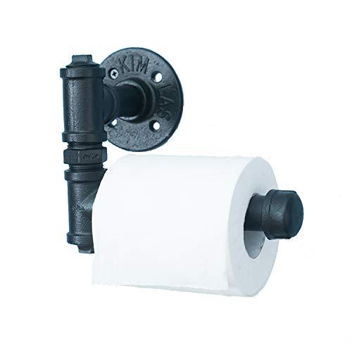 Vintage Toilettenpapier-Halter aus Industrie-Rohr, Wand befestigter Retro-Toilettenrollen-Halter, Badezimmer-Accessoire, schwarz.